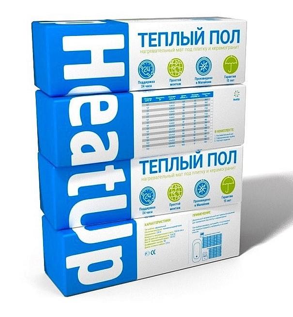 Нагревательный мат HeatUp в упаковке, коробка HeatUp
